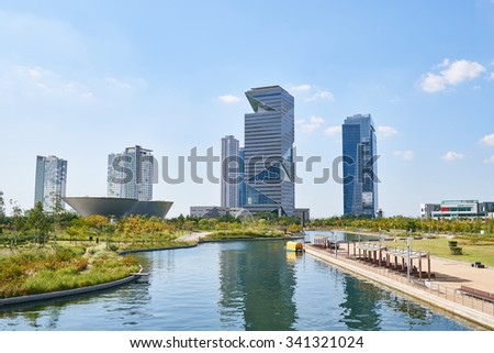 Songdo, Korea - September 07, 2015: Songdo International Business District (Songdo IBD). It is a new smart city built in Incheon, South Korea. And SIBD is a part of the Incheon Free Economic Zone.