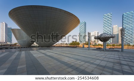 Songdo,South Korea - February 19, 2015: Songdo Central Park in Songdo International Business District