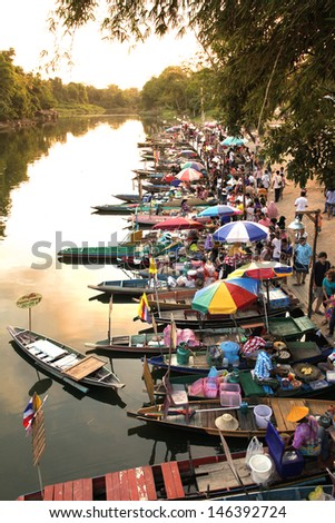 SONGKHLA APRIL 14: Khlong Hae floating market is the first and the only floating market in Southern Thailand, Songkhla on April 14, 2011. Vendors selling a big variety of local Thai food and snacks. - stock photo