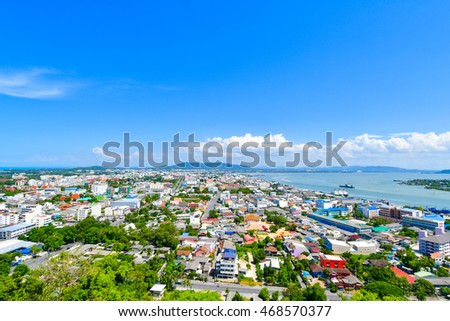 Songkhla cityscape with Songkhla sea background