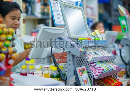 Songkhla, 30 june 2015: 7-Eleven shop with cash desk in Ra Not town, Songkhla province, Thailand. - stock photo