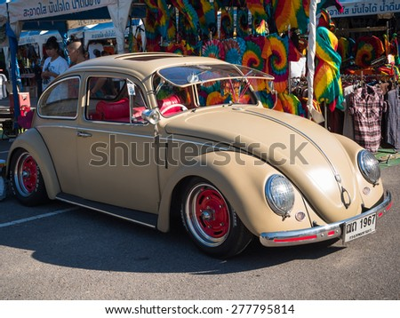 "SONGKHLA, THAILAND - May 02 :Vintage Volkswagen  Meeting in ""VW SONGKHLA AIR COOLED GATHERING SEASON 3"" at Singhanakhon beach on May 02,2015 in Songkhla, Thailand."