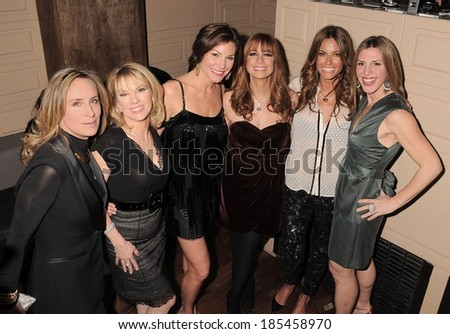 Sonja Morgan, Ramona Singer, LuAnn de Lesseps, Jill Zarin, Kelly Bensimon, Sonja Morgan attending Real Housewives of New York City Season 3 Premiere Party, La Pomme Nightclub, New York March 4, 2010 - stock photo