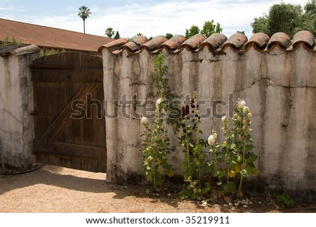 Sonoma Mission Side Gate, Tiled Adobe Wall, and Flowers