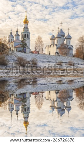 Sophia Cathedral and bell tower in the city of Vologda - stock photo