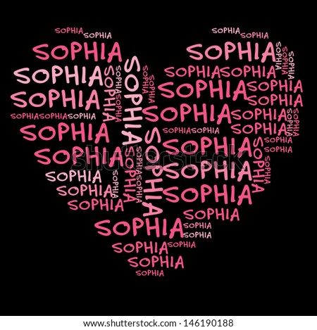 Sophia word cloud in pink letters against black background - stock photo