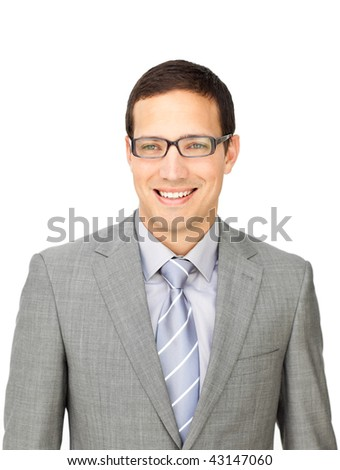 Sophisticated businessman wearing glasses isolated on a white background