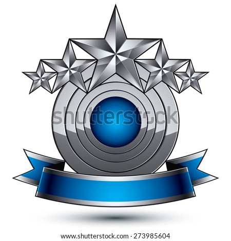 Sophisticated emblem with 5 silver glossy stars and blue wavy ribbon, 3d decorative design element - stock photo