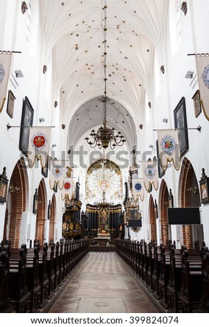 Sopot, Poland - March 07 2016: Interior of the Oliwa Cathedral, located in Oliwa park of Gdansk