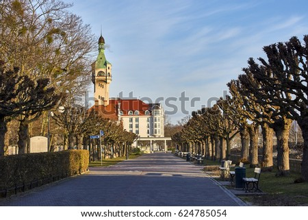 Sopot, Poland - 22 march  2017:  square in the town of Sopot, Poland