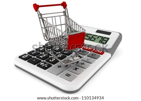 Sopping Cart with Calculator on a white background - stock photo