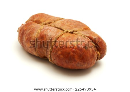 Soppressata di Calabria on a white background - stock photo