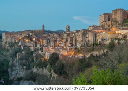 Sorano - Etruscan tuff city, Italy - stock photo