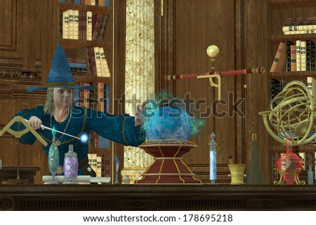 Sorcerer Magician - A magician casts a spell with his wand and crystal ball in his library and laboratory. - stock photo