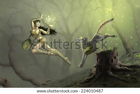 sorceress and pet in forest