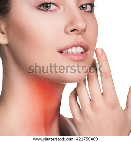 Sore throat of a women.