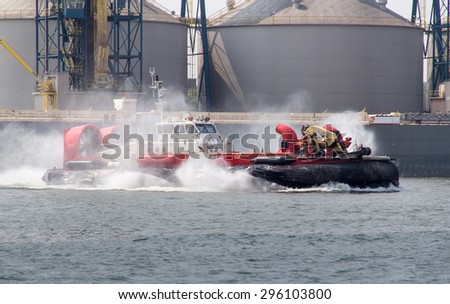 Sorel-tracy, Canada - July 13, 2015: fisheries and ocean Canadian Coast guard hovercraft on St-Lawrence river.  - stock photo