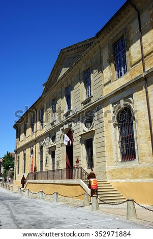 SOREZE, FRANCE - CIRCA JULY 2015 Facade of Town Hall in