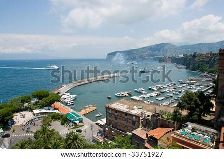 Sorrento harbour - stock photo