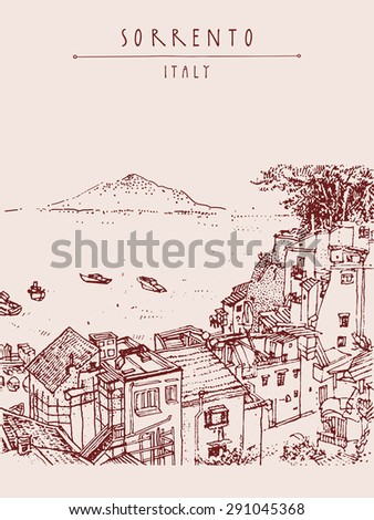 Sorrento, Italy, Europe. Vesuvio volcano. Above view. Historical building with a palm tree line art. Artistic illustration drawing. Travel sketch, hand lettering. Touristic postcard poster template