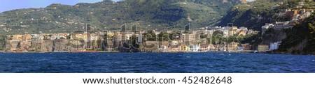 SORRENTO, ITALY - JUNE 26: Coast panorama in Sorrento on JUNE 26, 2014. Sorrentine Peninsula Panoramic Landscape at Tyrrhenian Sea Shore in Sorrento, Italy. - stock photo