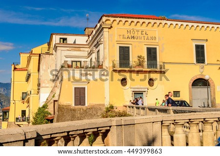 SORRENTO, ITALY - MAY 8, 2016: Architecture of Sorrento, Italy. Sorrento is a popular touristic destination