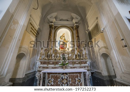 SORRENTO, ITALY � MAY 12, 2014 : Interiors and details of the Duomo, cathedral of Naples, built 14th century for saint Januarius, camapnia, Italy, May 12, 2014,  in Sorrento, Italy.