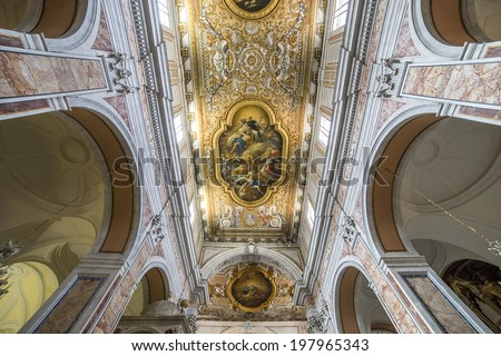 SORRENTO, ITALY - MAY 12, 2014 : Interiors and details of the Duomo, cathedral of Naples, built 14th century for saint Januarius, camapnia, Italy, May 12, 2014,  in Sorrento, Italy.