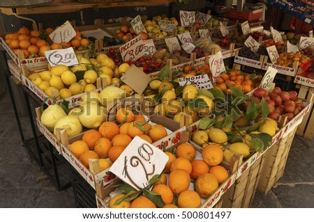 SORRENTO, ITALY - MAY 20, 2014 - market of fruits and vegetables in sorrento, mediterranean coast of italy
