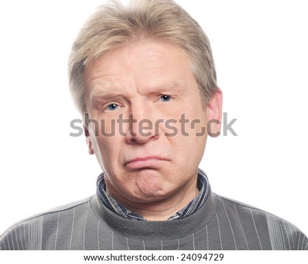 sorrow man on isolated background