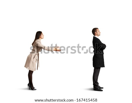 sorrowful man standing near young woman. isolated on white background - stock photo