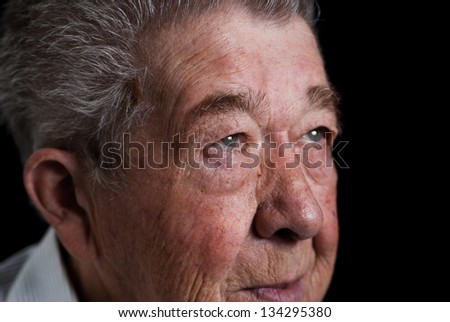 Sorrowful view of a Senior - stock photo