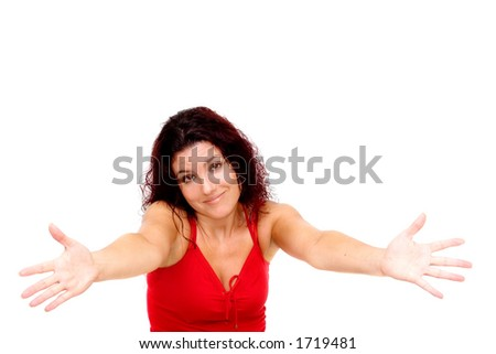 Sorry, can't help. Woman with arms stretched isolated on white background. - stock photo