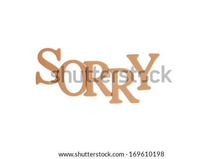 Sorry - Three Dimensional Letter isolated on white background.