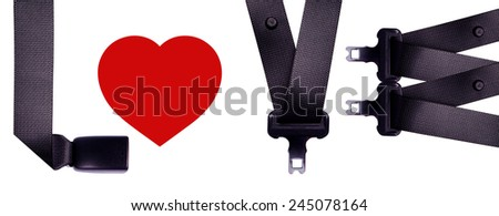 Sort safety belt is the word LOVE. - stock photo