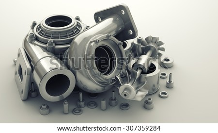 sorted turbocharger of car. High resolution 3d - stock photo