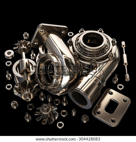 sorted turbocharger of car isolated on black background. High resolution 3d