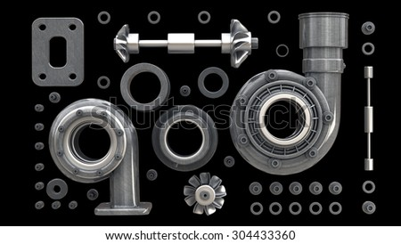 sorted turbocharger of car on black background. High resolution 3d