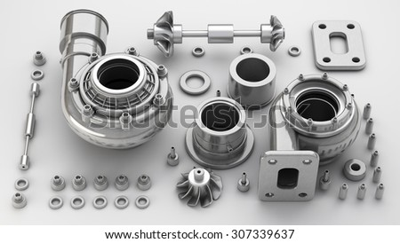 sorted turbocharger of car on grunge background. High resolution 3d