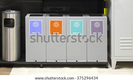 Sorting Bins For Recycling Trash and Waste - stock photo