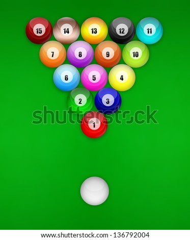 Sorting snooker ball design on the green snooker table