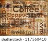 sorts of coffee on wooden background - stock vector