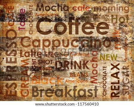 sorts of coffee on wooden background - stock photo