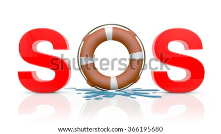 SOS on white background with a water drop - stock photo