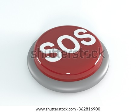 SOS red button, 3d illustration - stock photo