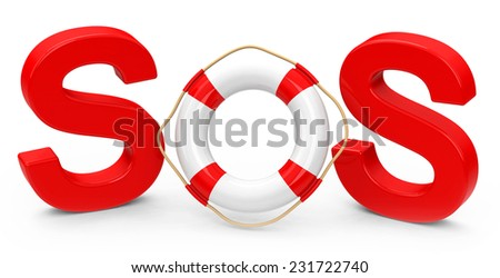 SOS sign with letters and lifebuoy - stock photo