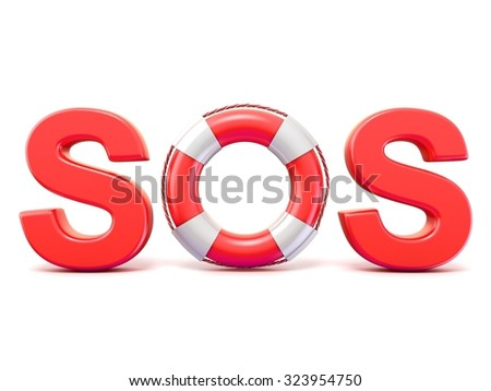 SOS sign, with lifebuoys. 3D render illustration isolated on white background - stock photo