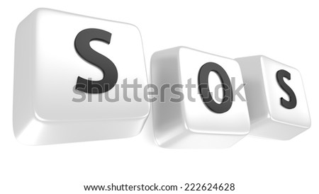 SOS written in black on white computer keys. 3d illustration. Isolated background. - stock photo