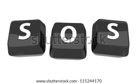 SOS written in white on black computer keys. 3d illustration. Isolated background. - stock photo