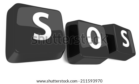 SOS written in white on black computer keys. 3d illustration. Isolated background. - stock photo